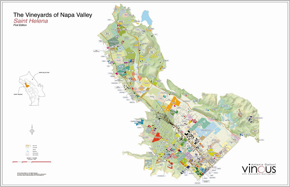 Vinous Map The Vineyards Of St Helena Conn Valley May - Saint helena map